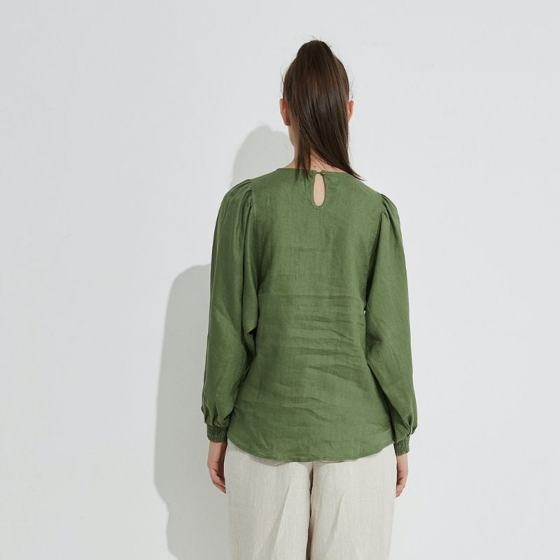 Blouson Sleeve Top - Ivy Green