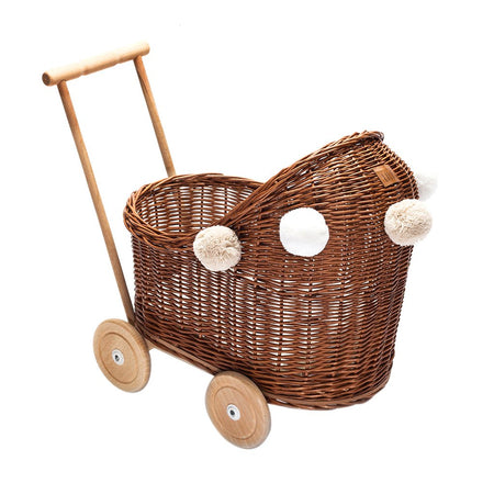 Wicker dolls Pram Natural