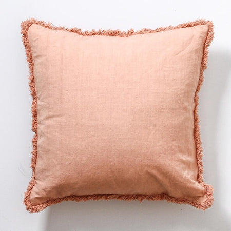On the Fringe Linen Cushion - Blush Pink