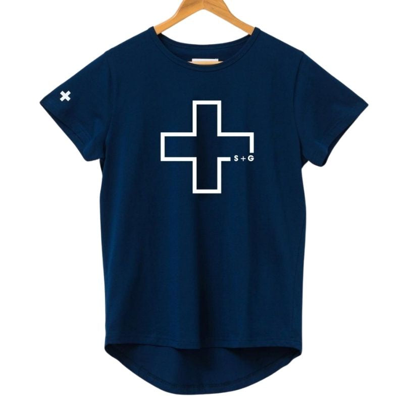 Marine Blue White Cross Logo Tee