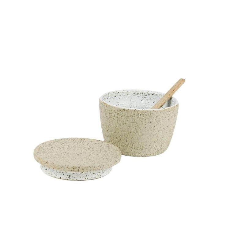 White Granite Sugar Pot & Spoon Set