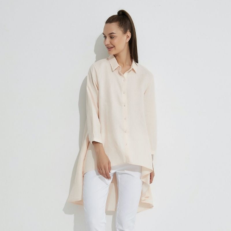 Drop Side Shirt - Pale Pink