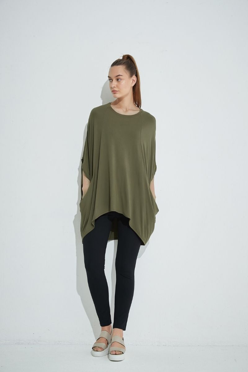 Khaki Oversized Relaxed Top