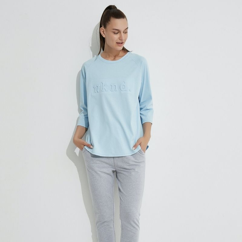 3/4 Sleeve Raised Text Crew - Pale Blue
