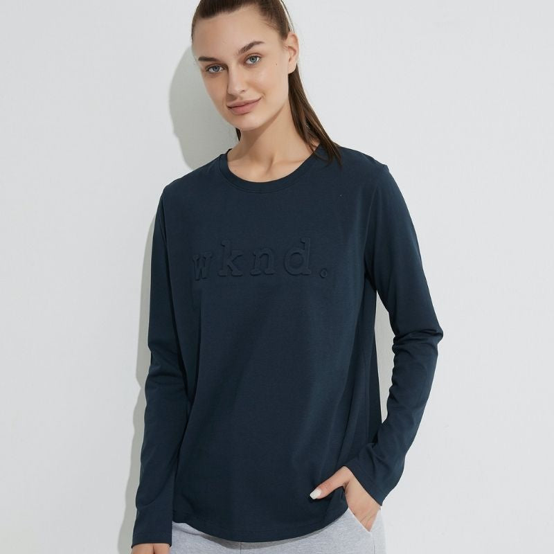 Long Sleeve Raised Text Tee - Dark Navy