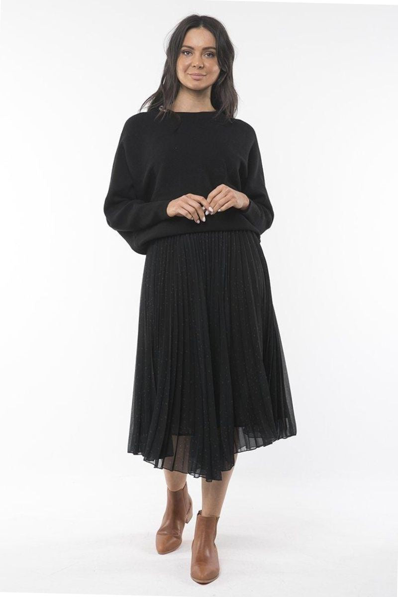 Ruby Pleated Middy - Black