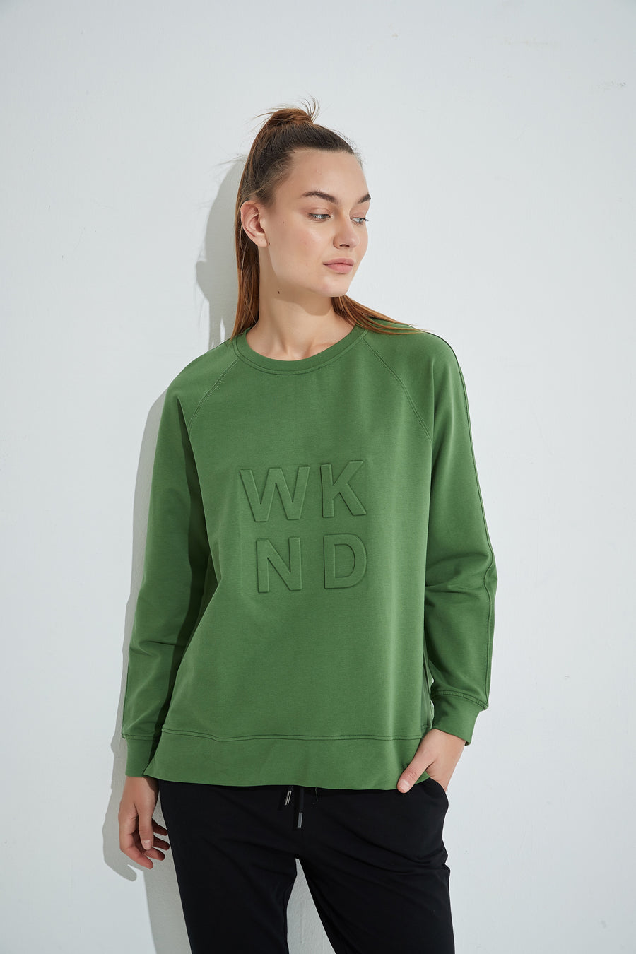 WKND Embossed Sweat - Dark Olive