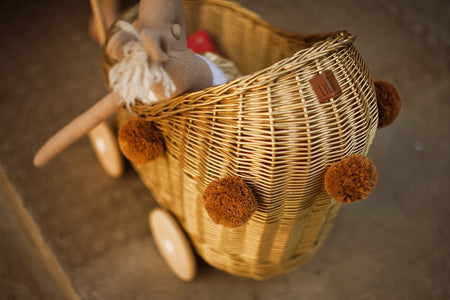 Gold Wicker Dolls Pram