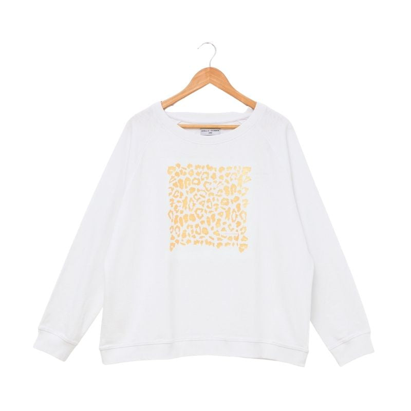 White with Gold Leopard Sweater