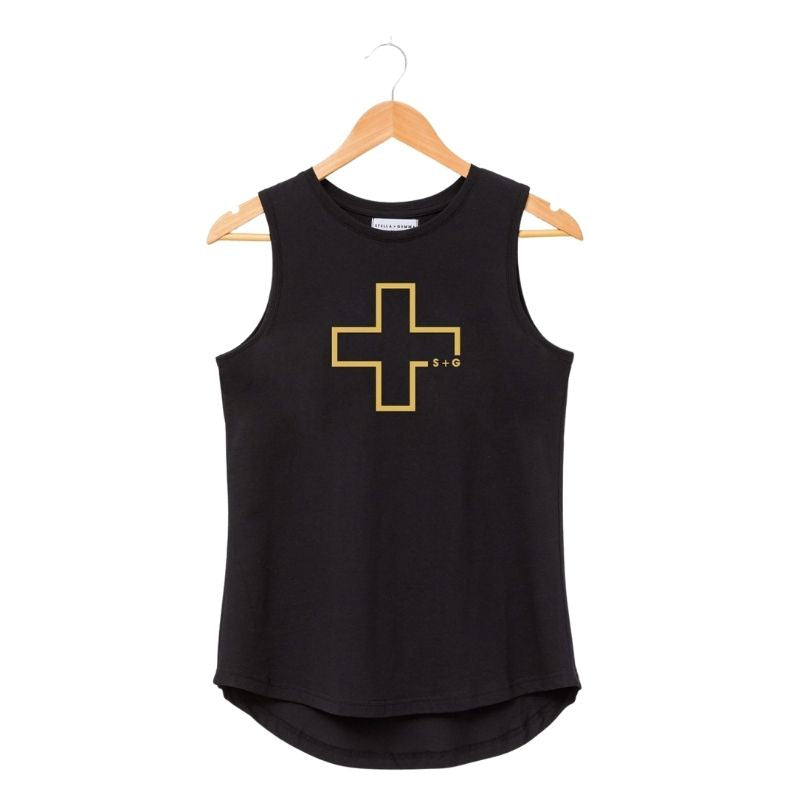 Tank - Black with Gold Cross Logo