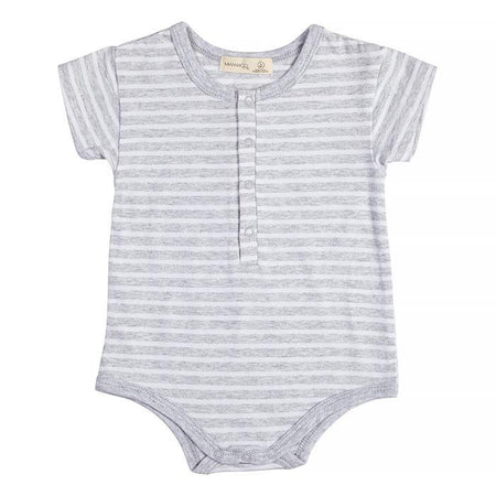 Grey Stripe Short Sleeve Body Suit