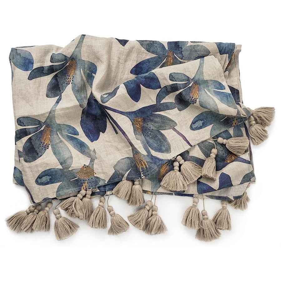 Blue Floral Tulip Throw