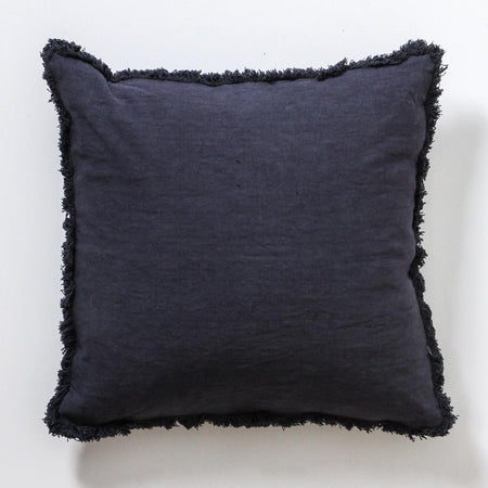 One the Fringe Linen Cushion - Pacific
