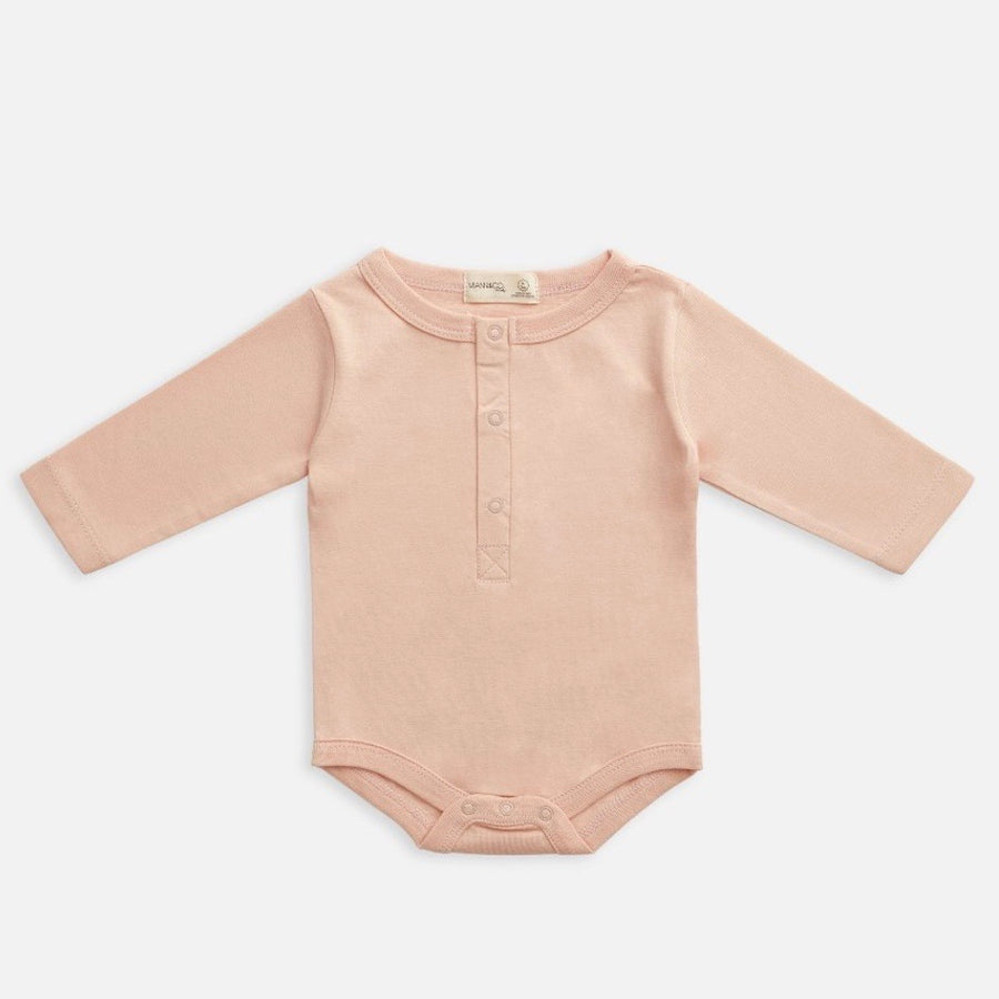 Organic Cotton Long Sleeve Bodysuit - Evening Sand
