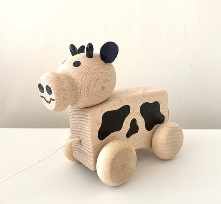 Wooden Pull Along - Cow