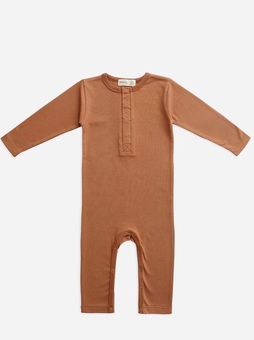 Organic Cotton Full Sleeve Jumpsuit - Cafe Au Lait