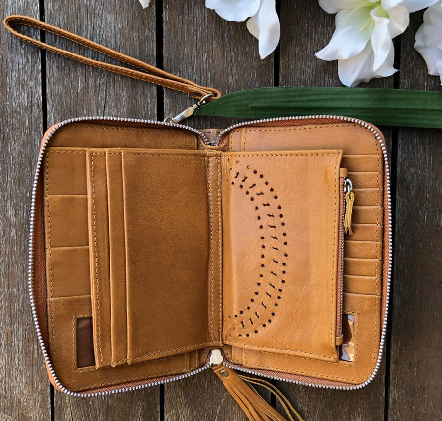 Laser Cut Zip Wallet - Vintage Tan
