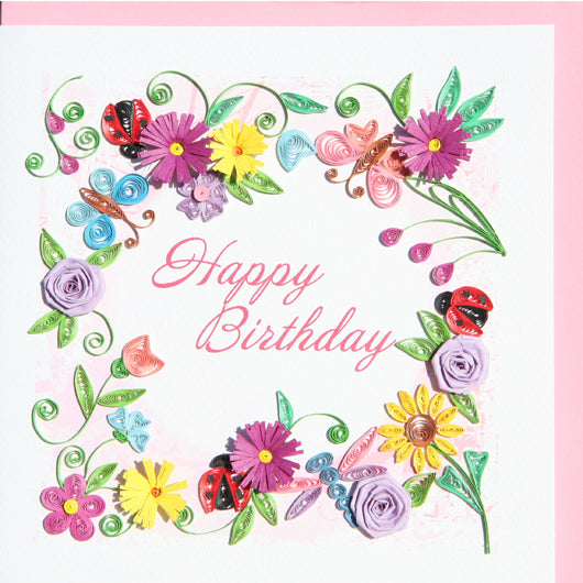 Happy Birthday Flower Quilling Card By Yoderdo Creativecrossroads