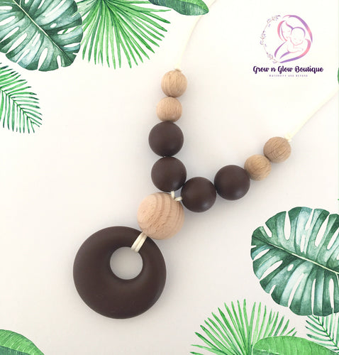 'ISABELLA' Silicone Breastfeeding Necklace - Brown
