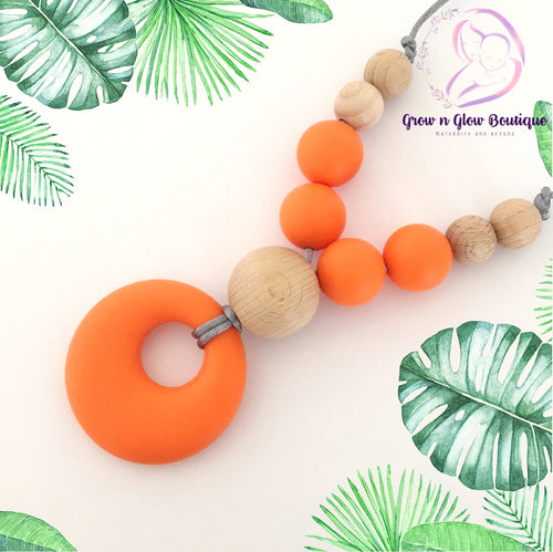 'ISABELLA' Silicone Breastfeeding Necklace - Orange
