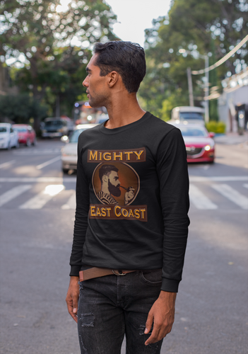 Men's Long Sleeve T-Shirt, decorated with Captain Mighty and Mighty East Coast