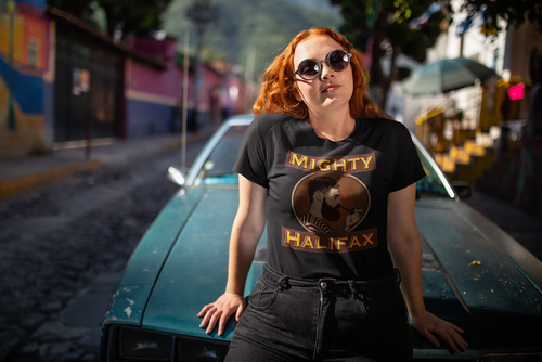 Women's Short Sleeve T-Shirt, decorated with Captain Mighty and Mighty Halifax