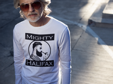 Men's Long Sleeve T-Shirt, decorated with Captain Mighty and Mighty Halifax