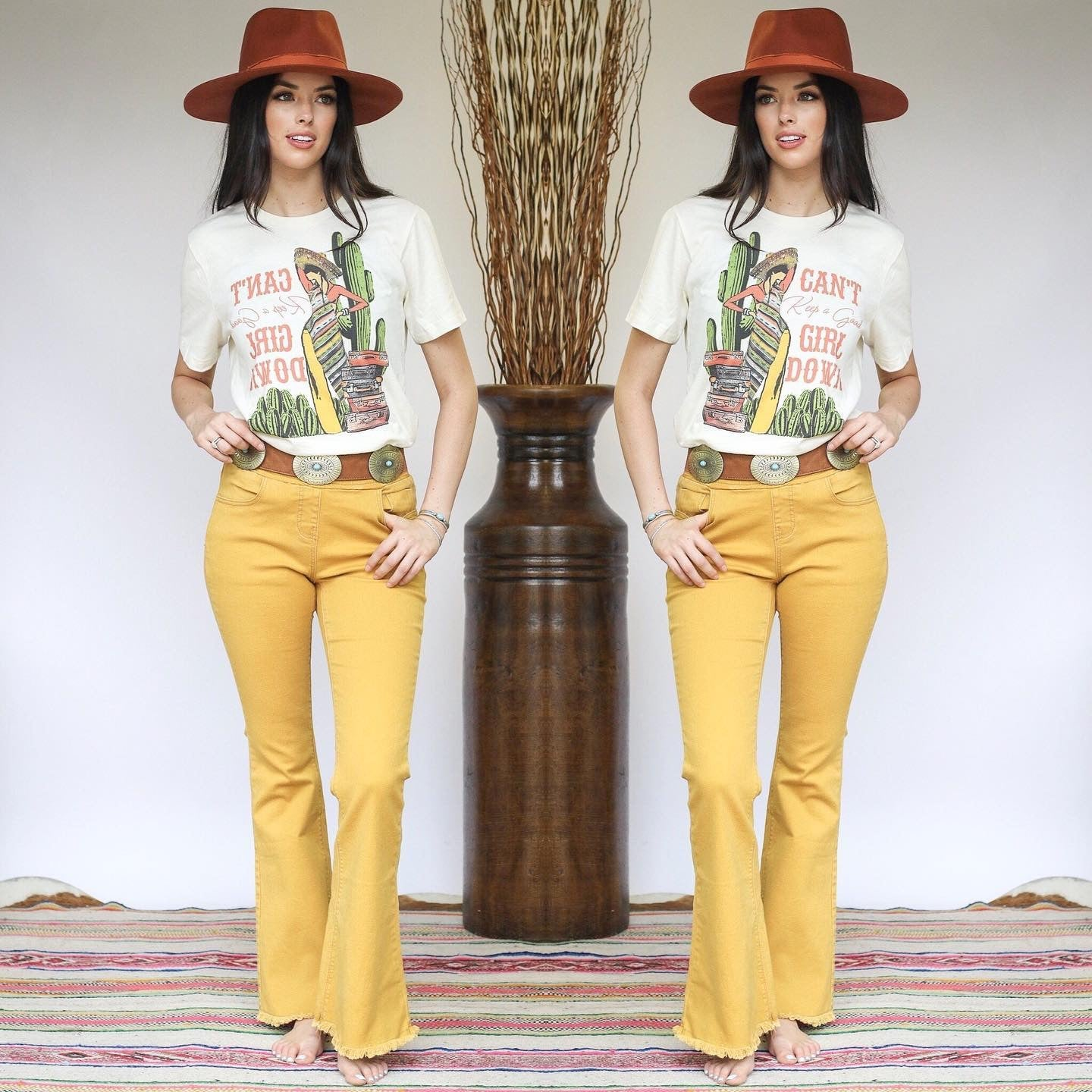 Mustard Denim Flare Pants