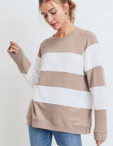 Taupe Color Block Top