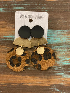 Black/Gold/Leopard Earrings