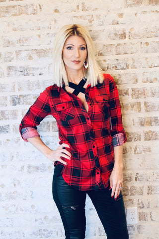Red/Black Fitted Flannel