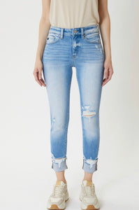 Kancan Light High Rise Cuffed Skinny