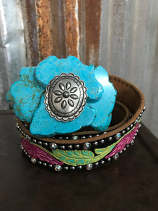 Turquoise Concho Slab Buckle