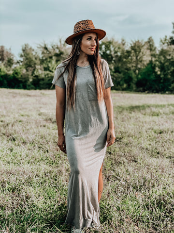 Dark Sand Tshirt Maxi Dress