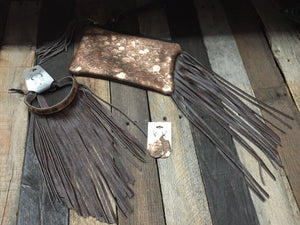 Brown Cowhide w Copper Wash Wristlet