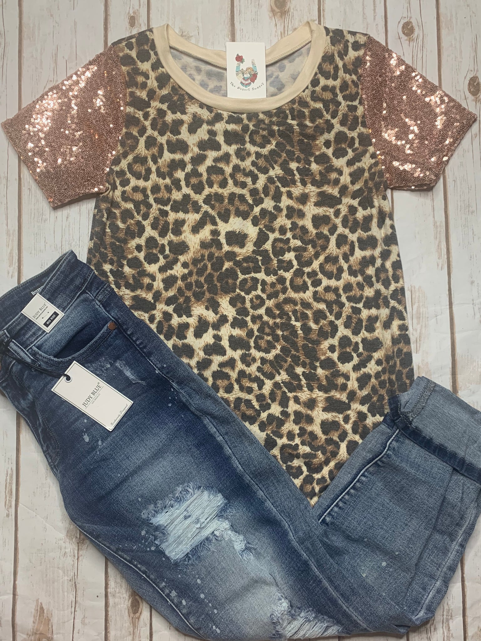 Leopard Sequin Sleeve Top