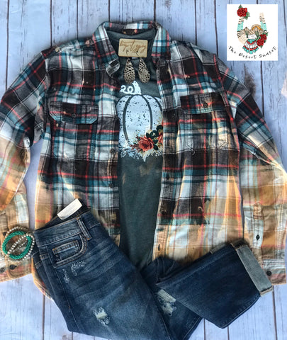 Distressed Flannel Turquoise/Brown/Orange