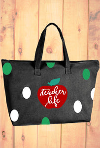 Teacher Tote - Polka Dot