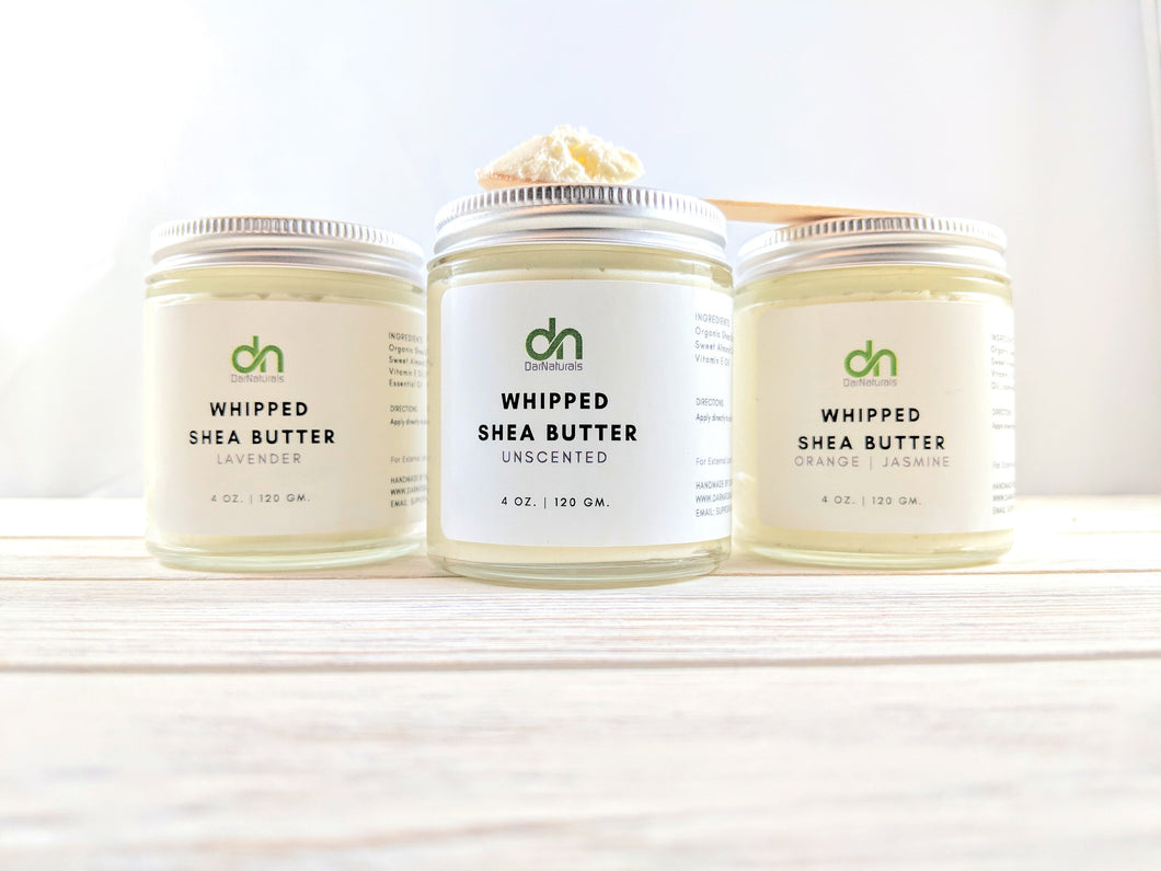 Whipped Body Butter - Unscented Whipped Body Butter - Body Moisturizer - Organic Shea Butter -Glass Jar - Body Butter - Body Souffle