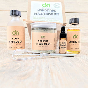 Natural Clay Mask Kit | Natural Face Care Kit | Bentonite Clay | Rhassoul Clay | Kaolin Clay | | French Green Clay | Gift for her | Mud Mask