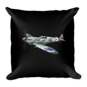 WWII British Spitfire Airplane Pillow Black