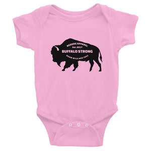 Buffalo Strong Roam Free And Wild Infant Bodysuit Pink
