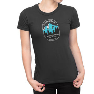 Concentrate The Mountains Are Calling Womens Shirt Black