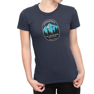 Concentrate The Mountains Are Calling Womens Shirt Blue
