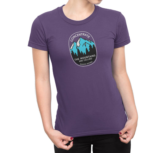 Concentrate The Mountains Are Calling Womens Shirt Purple