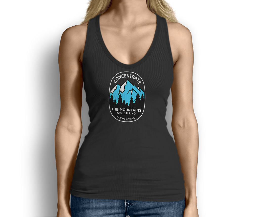 Concentrate The Mountains Are Calling Womens Tank Top Black
