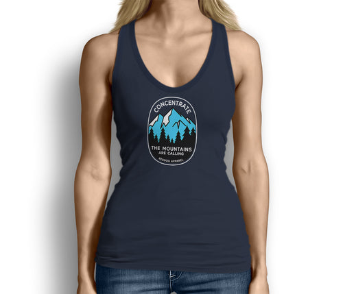 Concentrate The Mountains Are Calling Womens Tank Top Blue