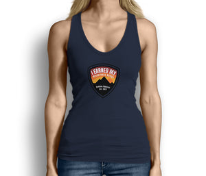 I Earned My Wilderness Badge Womens Tank Top Blue