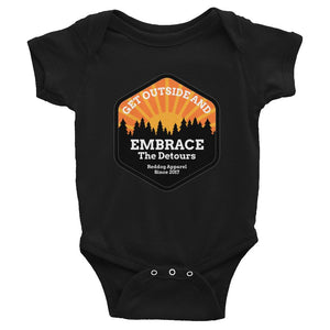 Get Outside Embrace The Detours Infant Bodysuit Black