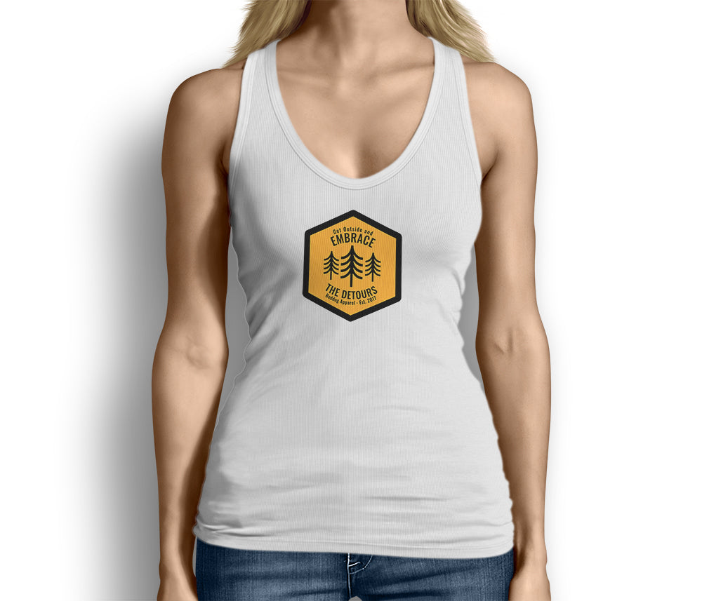 Get Outside and Embrace the Detours Sign Womens Tank Top White